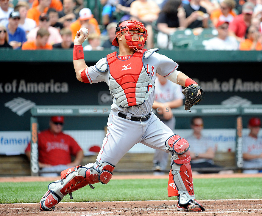Los Angeles Angels Hank Conger (16) during a game against the Baltimore Orioles on June 12, 2013 at Orioles Park in Baltimore, MD. The Angels beat the Orioles 9-5.