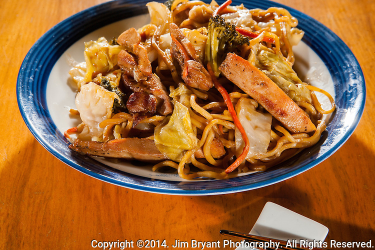 Japanese stir fried Chicken Yakisoba with cabbage, onions, carrots and noodles.  ©2014. Jim Bryant Photo. All Rights Reserved.