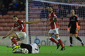 12th September 2017, Oakwell, Barnsley, England; Carabao Cup, second round, Barnsley versus Derby County; Joe Williams of Barnsley FC tackles Johnny Russell of Derby County