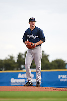 Lakeland Flying Tigers starting pitcher Casey Mize (32) gets ready to deliver a warmup pitch during a game against the Dunedin Blue Jays on July 31, 2018 at Dunedin Stadium in Dunedin, Florida.  Dunedin defeated Lakeland 8-0.  (Mike Janes/Four Seam Images)