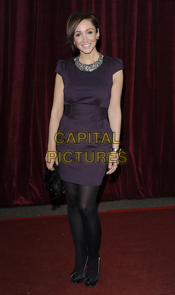 LUCY JO HUDSON.'An Audience with Michael Buble' at the London ITV Studios, South Bank, London, England..May 3rd, 2010.full length black dress purple tights sleeveless silver collar necklace .CAP/CAN.©Can Nguyen/Capital Pictures.