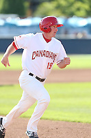 Boomer Collins #19 of the Vancouver Canadians runs the bases during a game against the Hillsboro Hops at Nat Bailey Stadium on July 24, 2014 in Vancouver, British Columbia. Hillsboro defeated Vancouver, 7-3. (Larry Goren/Four Seam Images)