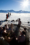 A group of vacationing Australians enjoy the hot springs outside Mammoth Lakes, Calif., January 27, 2011.