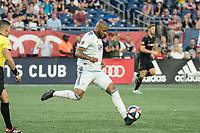FOXBOROUGH, MA - AUGUST 3: Andrew Farrell #2 of New England Revolution passes the ball forward during a game between Los Angeles FC and New England Revolution at Gillette Stadium on August 3, 2019 in Foxborough, Massachusetts.