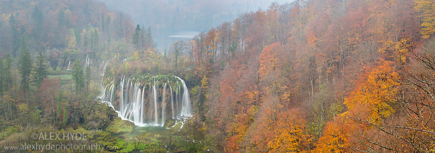 Veliki Prstavci waterfalls, Upper Lakes, Plitvice Lakes National Park, Croatia. November. Digitaly stitched panorama.