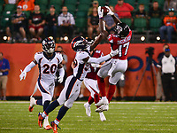 Canton, Ohio - August 1, 2019: A pass to Atlanta Falcons wide receiver Olamide Zaccheaus #17 is broken up by Denver Broncos cornerback Trey Johnson #39 at the Tom Benson Hall of Fame stadium in Canton, Ohio August 1, 2019. This game marks start of the 100th season of the NFL. (Photo by Don Baxter/Media Images International)