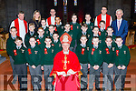 Pupils from Monastry NS with Bishop Ray Browne at their Confirmation in St Mary's Cathedral on Friday with Colm O Suilleabhain Principal,Mary Brosnan teacher Fr Niall Howard, Fr Kieran O'Brien, and Fr Jim Lynch