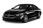 2019 Mercedes Benz CLA-Coupe 45-AMG 4 Door Sedan Angular Front automotive stock photos of front three quarter view