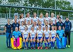 UTRECHT -   Kampong Dames I , seizoen 2019/2020. teamfoto: voor: keeper Ayeisha McFerron (Kampong) , Nee van Laarhoven (Kampong) , Malou Pheninckx (Kampong) , Margot Zuidhof (Kampong) ,  Chiara Tiddi (Kampong) , Elsie Nix (Kampong) , keeper Inge Dijkstra (Kampong) . midden: fysio Amarins Bottema, coach Michiel van der Struijk (Kampong) , Jutta van Crevel (Kampong) , Marieke van der Vis (Kampong) , Mabel Brands (Kampong) , Pam Imhof (Kampong) , Gabrielle Mosch (Kampong) , manager Marielle de Vuijst-Hoogendoorn (Kampong) ,assistent-coach Pieter Bos (Kampong) en looptrainer Emiel Mellaard. boven: Anna van den Putten (Kampong) , Anna Fenne (Kampong) ,Lisa Gerritsen (Kampong) , Michelle Simons (Kampong) ,Tessa Schoenaker (Kampong) , Carlijn Tukkers (Kampong) , Luna Fokke (Kampong) , Carmen Wijsman (Kampong). COPYRIGHT KOEN SUYK