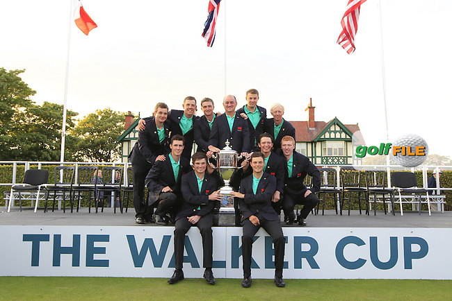 GB&amp;Ireland at the closing ceremony after The GB &amp; Ireland Walker cup team won the Walker Cup, Royal Lytham St Annes, Lytham St Annes, Lancashire, England. 13/09/2015<br /> Picture Golffile | Fran Caffrey<br /> <br /> <br /> All photo usage must carry mandatory copyright credit (&copy; Golffile | Fran Caffrey)