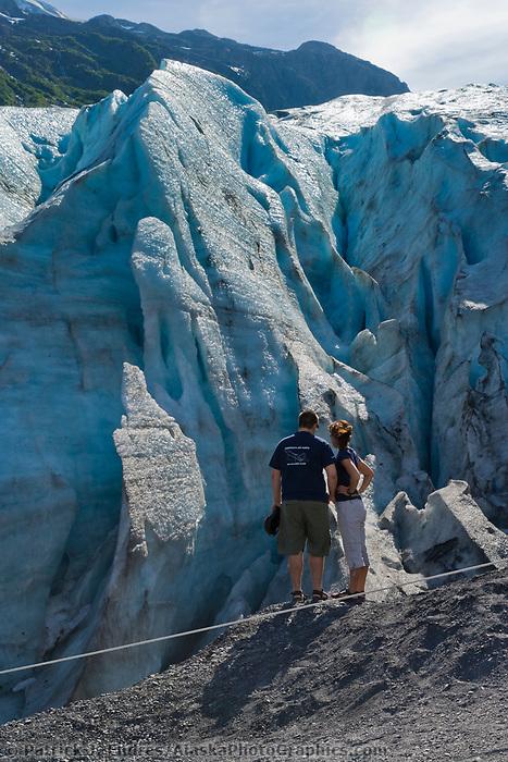 Tourists view Exit Glacier, Kenai Peninsula, Alaska