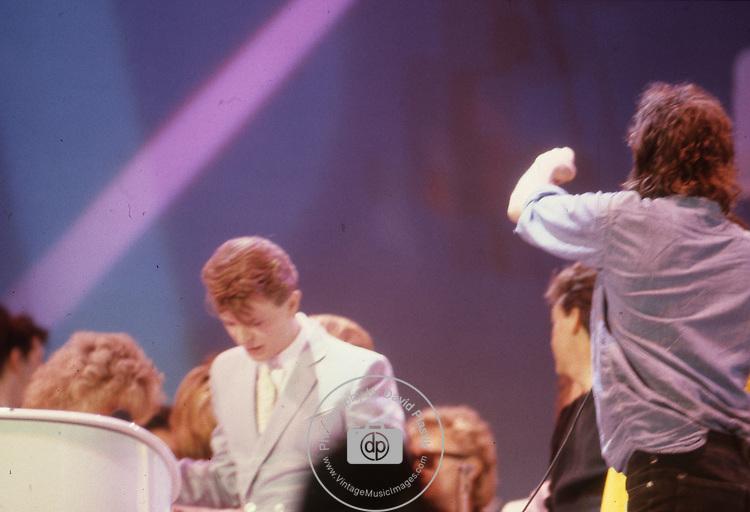 Live Aid 1985 Wembley Stadium, London , England. David Bowie, Bob Geldolf