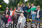Published Caption: UNVEILING: Killarney Mayor Niall OCallaghan unveils the bench in honour of Dermot OSullivan (Castlerosse Cottages) across from St Marys Cathedral, Killarney, last Friday. Front row l-r: Bob OSullivan, Niall OCallaghan (Mayor of Killarney), Kathleen OSullivan and Cllr Michael Courtney. Back row l-r: Eileen Ferris, Michael OLeary (Killarney town clerk), Aisling Crosbie, Paul OSullivan, Michelle Ferris, Keelin OSullivan, Sean OSullivan, Mary OSullivan, John OSullivan and Abbie OSullivan..Photoshop Caption: No Photoshop Caption