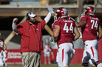Hawgs Illustrated/BEN GOFF <br /> Kurt Anderson, Arkansas offensive line coach, in the first quarter Friday, Nov. 24, 2017, at Reynolds Razorback Stadium in Fayetteville.