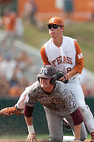 Texas Longhorns second baseman Brooks Marlow #8 lands on top of Texas A&M Aggies outfielder Chance Bolcerek #2 after turns a double play in the NCAA baseball game on April 29, 2012 at UFCU Disch-Falk Field in Austin, Texas. The Longhorns beat the Aggies 2-1 in the last ever regular season game scheduled for the long time rivals. (Andrew Woolley / Four Seam Images)