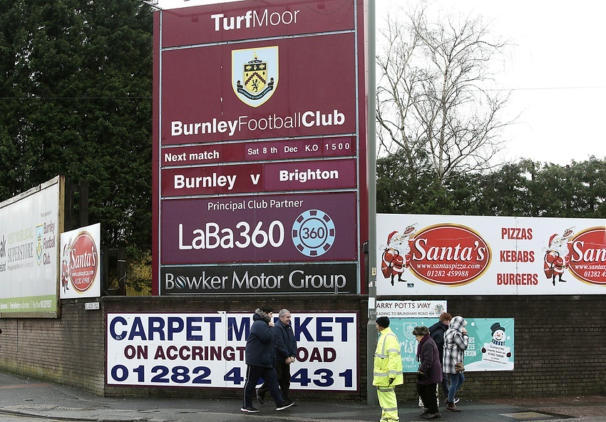 A general view of Turf Moor, home of Burnley as fans arrive ahead of kick-off<br /> <br /> Photographer Rich Linley/CameraSport<br /> <br /> The Premier League - Burnley v Brighton and Hove Albion - Saturday 8th December 2018 - Turf Moor - Burnley<br /> <br /> World Copyright © 2018 CameraSport. All rights reserved. 43 Linden Ave. Countesthorpe. Leicester. England. LE8 5PG - Tel: +44 (0) 116 277 4147 - admin@camerasport.com - www.camerasport.com
