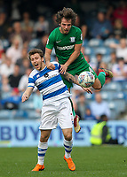 Preston North End's Ben Pearson competing with Queens Park Rangers' Luke Freeman<br /> <br /> Photographer Andrew Kearns/CameraSport<br /> <br /> The EFL Sky Bet Championship - Queens Park Rangers v Preston North End - Loftus Road - London<br /> <br /> World Copyright &copy; 2018 CameraSport. All rights reserved. 43 Linden Ave. Countesthorpe. Leicester. England. LE8 5PG - Tel: +44 (0) 116 277 4147 - admin@camerasport.com - www.camerasport.com