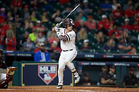 Marshall Gilbert (34) of the Mississippi State Bulldogs at bat against the Houston Cougars in game six of the 2018 Shriners Hospitals for Children College Classic at Minute Maid Park on March 3, 2018 in Houston, Texas. The Bulldogs defeated the Cougars 3-2 in 12 innings. (Brian Westerholt/Four Seam Images)
