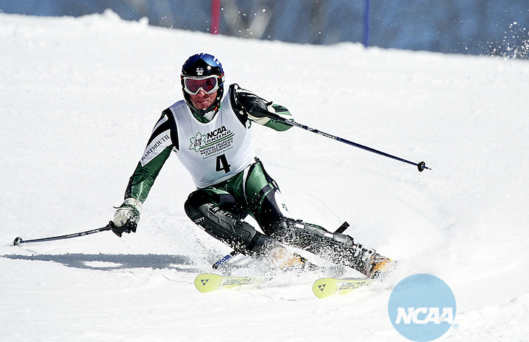 07 MARCH 2003: Bradley Wall (4) of Dartmouth College races to a first place finish in the men's slalom during the Division 1 Men's Skiing Championship held at the Dartmouth Skiway and Silver Fox Trails in Hanover, NH.  Mark Austin-Washburn/NCAA Photos