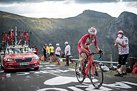 Nicolas Edet (FRA/Cofidis) up the Puy Mary (uphill finish)<br /> <br /> Stage 13 from Châtel-Guyon to Pas de Peyrol (Le Puy Mary) (192km)<br /> <br /> 107th Tour de France 2020 (2.UWT)<br /> (the 'postponed edition' held in september)<br /> <br /> ©kramon