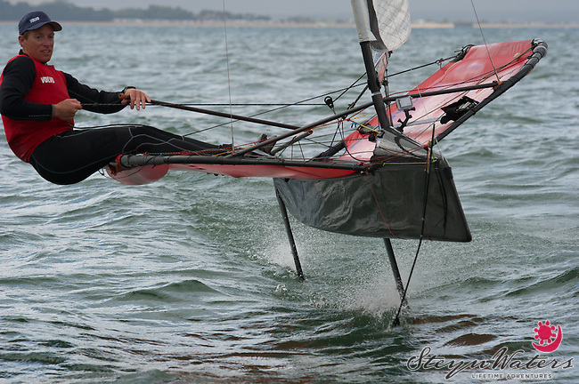 Paul Goodison on his Moth, Cowes 2013