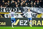 ***BETALBILD***  <br /> Solna 2015-05-10 Fotboll Allsvenskan AIK - IFK Norrk&ouml;ping :  <br /> Norrk&ouml;pings Alexander Fransson firar sitt 0-1 m&aring;l med Nikola Tkalcic under matchen mellan AIK och IFK Norrk&ouml;ping <br /> (Foto: Kenta J&ouml;nsson) Nyckelord:  AIK Gnaget Friends Arena Allsvenskan IFK Norrk&ouml;ping jubel gl&auml;dje lycka glad happy