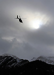 Helicopters arrives at the Operational Centre of the rescue operations of the crash of the Germanwings Airplane A320 in Seyne les Alpes, France on March 25, 2015.