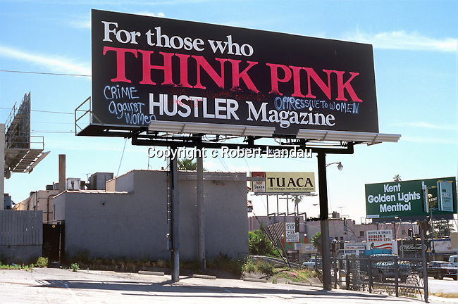 Billboard for Hustler Magazine on theSunset Strip in Los Angeles circa 1978