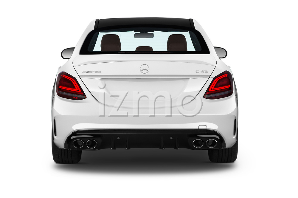 Straight rear view of a 2019 Mercedes Benz C-CLass 43-AMG 4 Door Sedan stock images