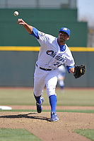 Ramon Troncoso #24 of the Omaha Storm Chasers throws in relief against the Memphis Redbirds at Werner Park on April 9, 2014 in Omaha, Nebraska. The Storm Chasers beat the Redbirds 20-3.   (Dennis Hubbard/Four Seam Images)
