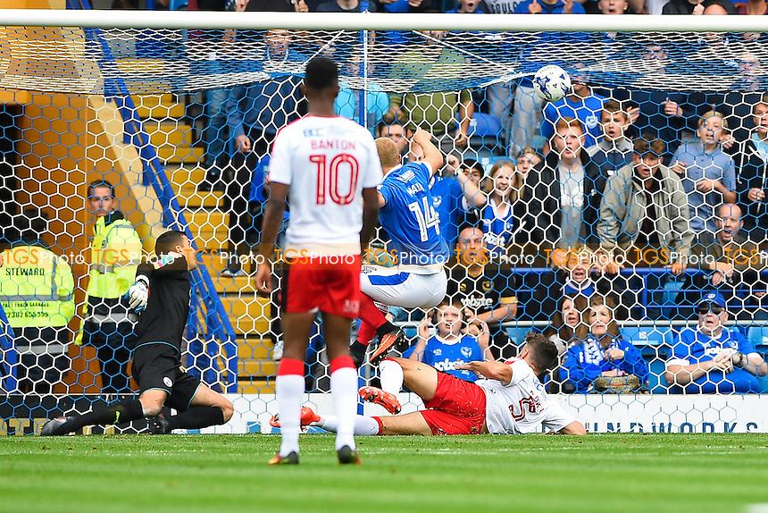 Curtis Main of Portsmouth (14) scores the first goal during Portsmouth vs Crawley Town, Sky Bet EFL League 2 Football at Fratton Park on 3rd September 2016