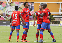IPIALES - COLOMBIA, 24-08-2019: Geisson Perea (#5) del Pasto celebra con sus compañeros después de anotar el primer gol de su equipo partido por la fecha 8 de la Liga Águila II 2019 entre Deportivo Pasto y Unión Magdalena jugado en el estadio Estadio Municipal de Ipiales. / Geisson Perea (#5) of Pasto celebrates with his teammates after scoring the first goal of his team during match for the date 8 as part of Aguila League II 2019 between Deportivo Pasto and Union Magdalena played at Municipal stadium of Ipiales. Photo: VizzorImage / Leonardo Castro / Cont