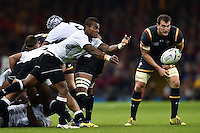 Nemia Kenatale of Fiji passes the ball. Rugby World Cup Pool A match between Wales and Fiji on October 1, 2015 at the Millennium Stadium in Cardiff, Wales. Photo by: Patrick Khachfe / Onside Images