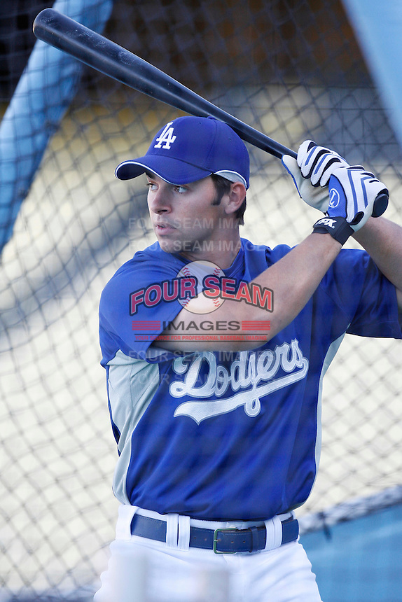 Blake DeWitt of the Los Angeles Dodgers during a 2007 MLB season game at Dodger Stadium in Los Angeles, California. (Larry Goren/Four Seam Images)