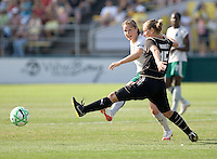 Kendall Fletcher (left) and Tiffany Milbrett (15) struggle for control of the ball. FC Gold Pride tied the St. Louis Athletica 1-1 at Buck Shaw Stadium in Santa Clara, California on August 9, 2009.