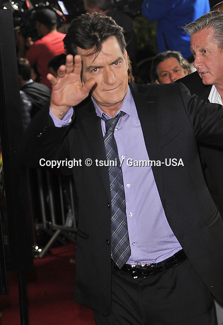 Charlie Sheen arriving at the Scary Movie V Premiere at the Arclight Theatre In Los Angeles.