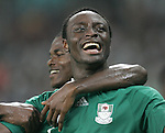 19 August 2008: Chinedu Ogbuke (NGA) celebrates the first of his two second half goals.  The men's Olympic soccer team of Nigeria defeated the men's Olympic soccer team of Belgium 4-1 at Shanghai Stadium in Shanghai, China in a Semifinal match in the Men's Olympic Football competition.