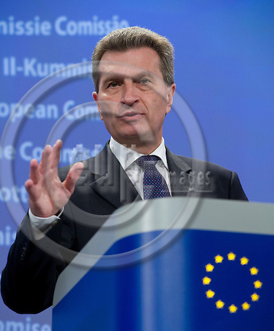 Brussels-Belgium - March 04, 2010 -- Günther (Guenther, Gunther) OETTINGER, European Commissioner from Germany and in charge of Energy, during a press conference in the HQ of the EC -- Photo: Horst Wagner / eup-images