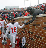 Ohio State Buckeyes quarterback J.T. Barrett (16) celebrates after beating Minnesota Golden Gophers at TCF Bank Stadium in Minneapolis, Minn. on November 15, 2014.  (Dispatch photo by Kyle Robertson)