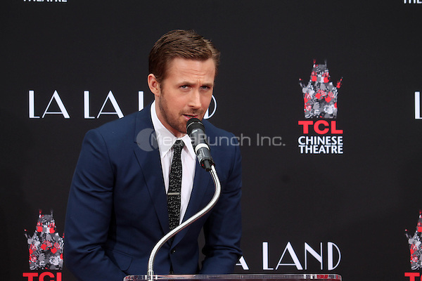 HOLLYWOOD, CA - DECEMBER 7: Ryan Gosling at the Emma Stone and Ryan Gosling Hand and Foot Print Ceremony at the TCL Chinese Theater in Hollywood, California on December 7, 2016. Credit: David Edwards/MediaPunch