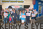 PROTEST: Sinn Fe?in TD Martin Ferris with Bridget Collins and Billy Lyons and a large group of people protesting outside the Happy Hippy headshop in Tralee on Saturday.