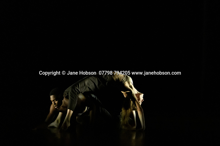 """Rambert2 presents """"Sin"""", at Sadler's Wells theatre, choreographed by Sidi Larbi Cherkaoui and Damien Jalet, with lighting design by Adam Carree and costume design by Alexandra Gilbert. Picture shows: Minouche Van de Ven and Prince Lyons."""