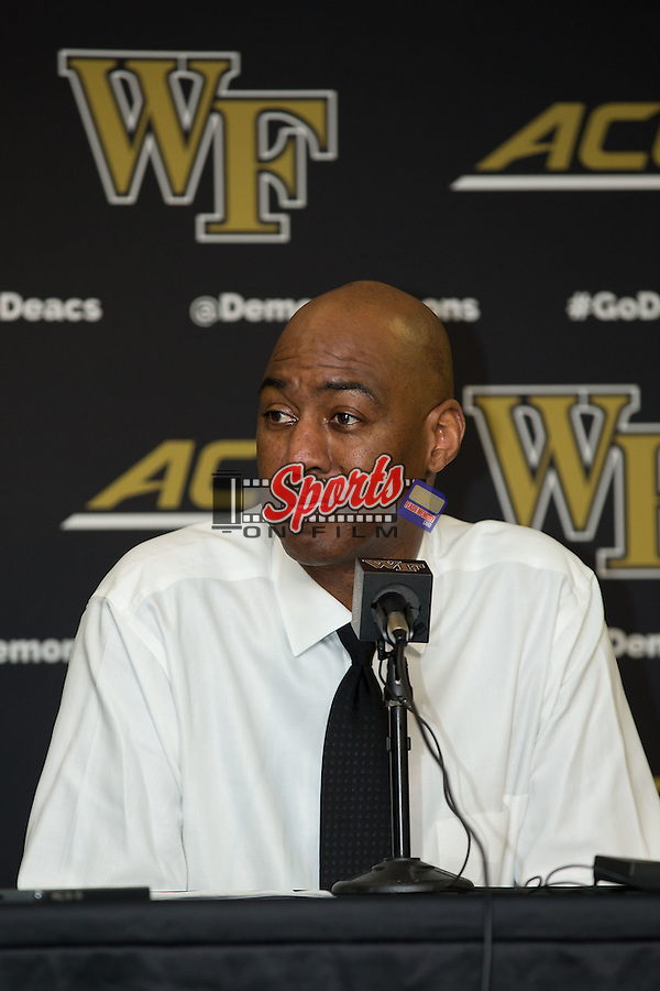 Wake Forest Demon Deacons head coach Danny Manning answers questions following the game against the \cm\ at the LJVM Coliseum on December 22, 2015 in Winston-Salem, North Carolina.  The Musketeers defeated the Demon Deacons 78-70.  (Brian Westerholt/Sports On Film)