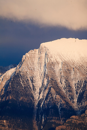 Close up view of a snow capped peak in the Mission Mountains