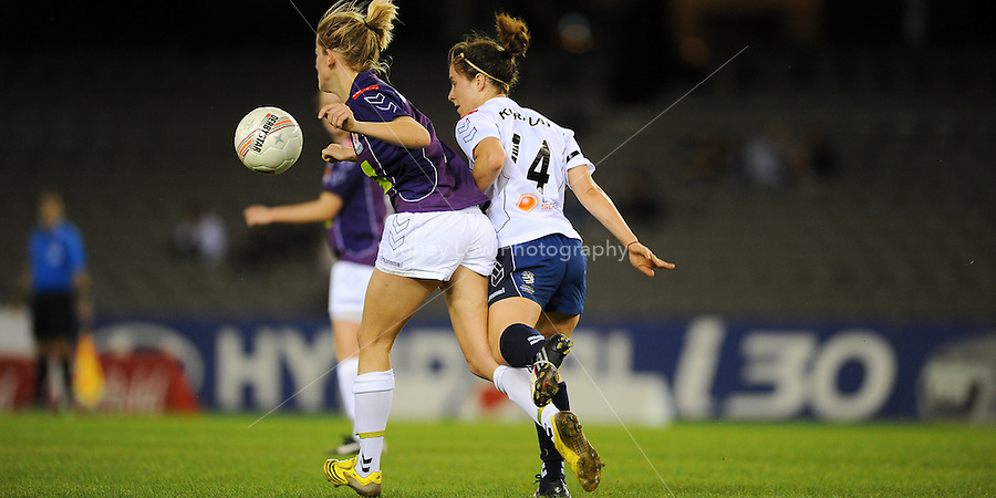 MELBOURNE, AUSTRALIA - OCTOBER 03: Selin KURALAY from Melbourne Victory fights for the ball in round 1 of the Westfield W-league match between Melbourne Victory and Perth Glory at Etihad Stadium on 3 October 2009 in Melbourne, Australia. (Photo by Sydney Low http://syd-low.com)