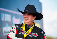 Oct 20, 2019; Ennis, TX, USA; NHRA top fuel driver Billy Torrence celebrates after winning the Fall Nationals at the Texas Motorplex. Mandatory Credit: Mark J. Rebilas-USA TODAY Sports