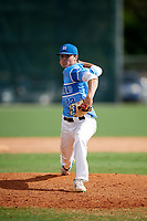 Seth Halvorsen (12) while playing for MN Blizzard Elite based out of Vadnais Heights, Minnesota during the WWBA World Championship at the Roger Dean Complex on October 21, 2017 in Jupiter, Florida.  Seth Halvorsen is a pitcher / shortstop outfielder from Plymouth, Minnesota who attends Heritage Christian Academy.  (Mike Janes/Four Seam Images)