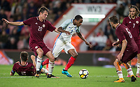 Kyle Walker-Peters (Tottenham Hotspur) of England U21 battles through the Latvia defence during the UEFA EURO U-21 First qualifying round International match between England 21 and Latvia U21 at the Goldsands Stadium, Bournemouth, England on 5 September 2017. Photo by Andy Rowland.