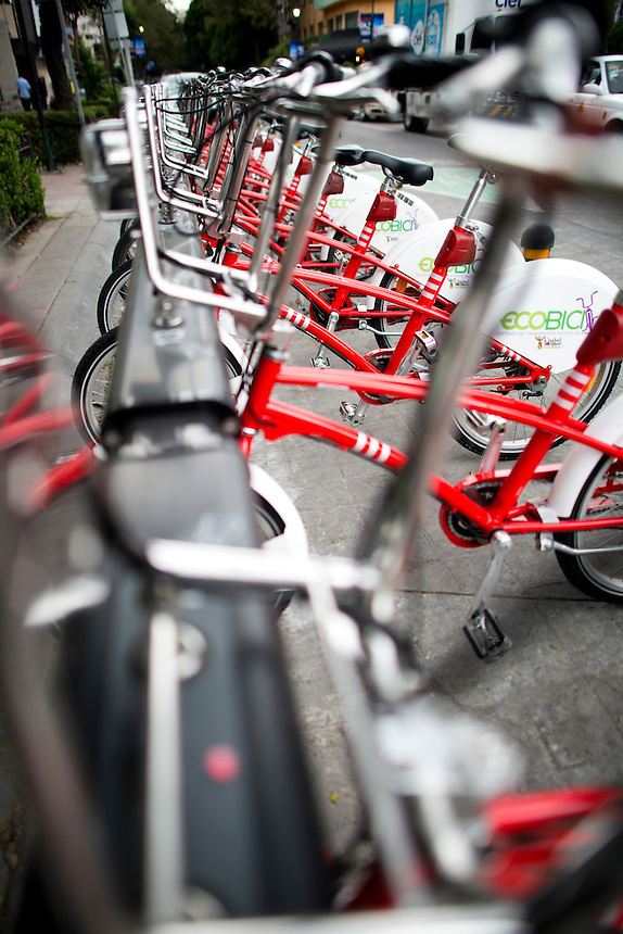 EcoBici bicycle sharing system in Polanco, Mexico City