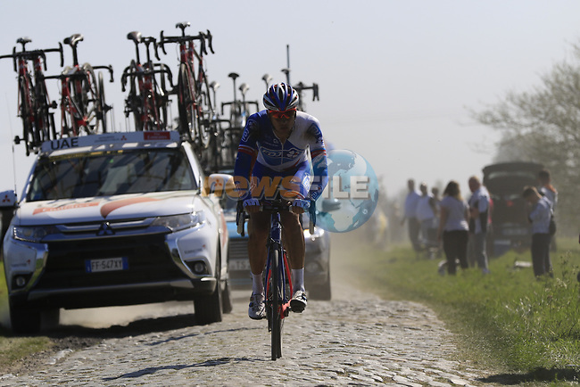 Ignatas Konovalovas (LTU) FDJ on pave sector 17 Hornaing a Windignies during the 115th edition of the Paris-Roubaix 2017 race running 257km Compiegne to Roubaix, France. 9th April 2017.<br /> Picture: Eoin Clarke | Cyclefile<br /> <br /> <br /> All photos usage must carry mandatory copyright credit (&copy; Cyclefile | Eoin Clarke)